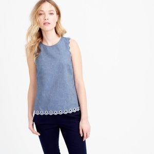 J. Crew Chambray Scalloped Top Grommets Eyelet 12